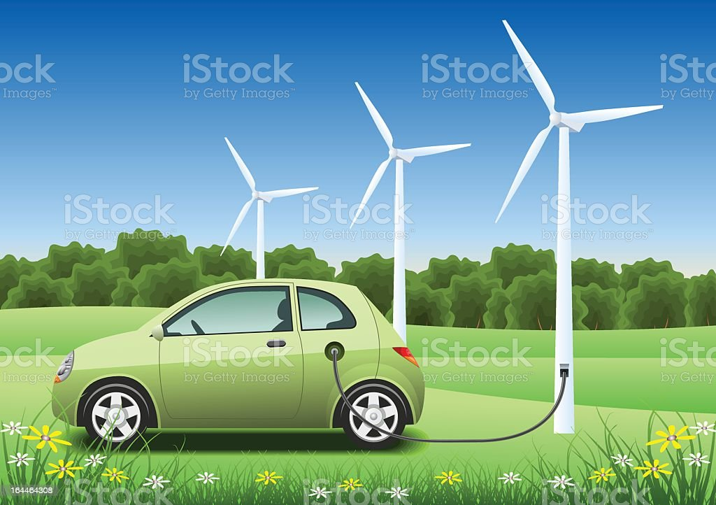 Green hybrid car charging with a wind generator vector art illustration