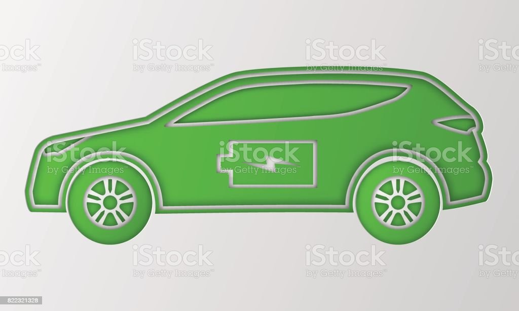 Green hybrid car in paper art style. Electric powered environmental vehicle. Contour automobile with battery sign. vector art illustration