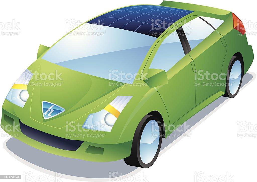 Green Hybrid Car vector art illustration