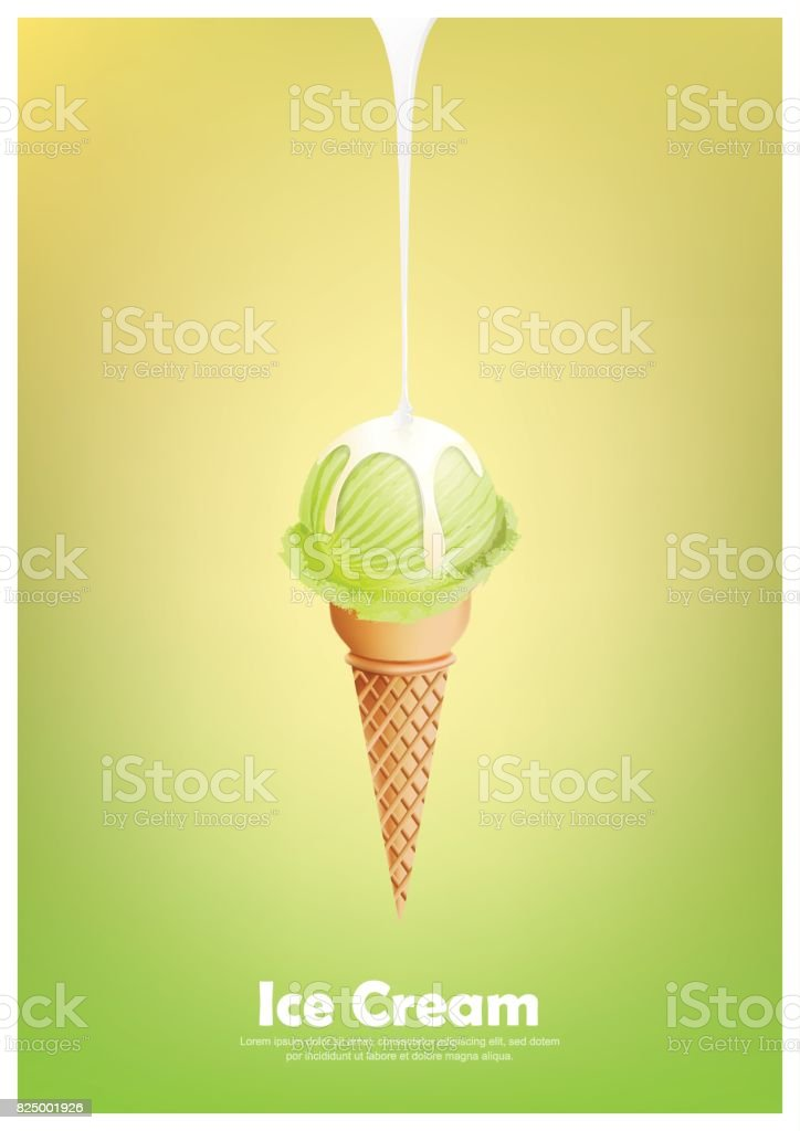 Green ice cream cone, Pour milk syrup, Vector illustration vector art illustration