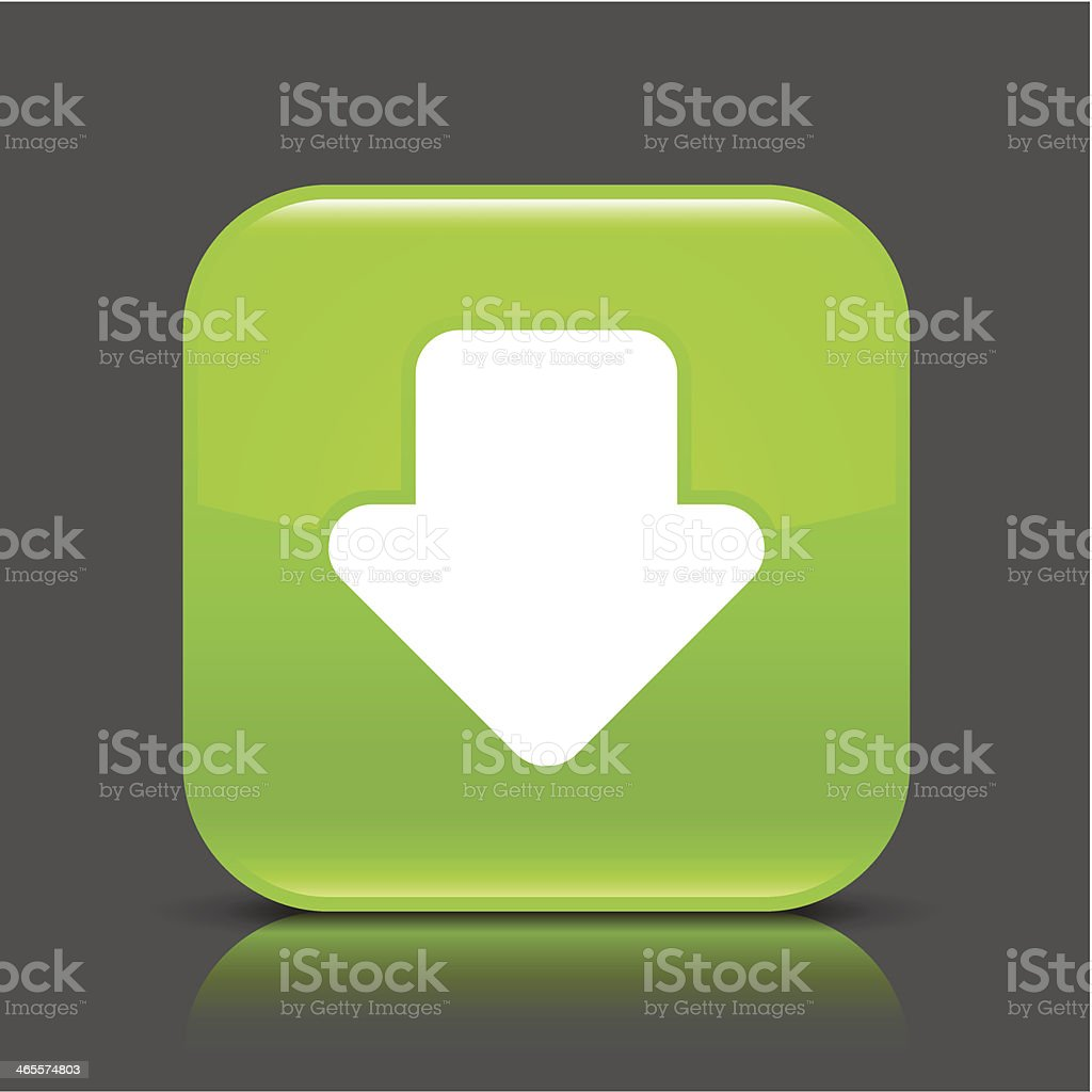 Green icon arrow download sign glossy square web button royalty-free stock vector art