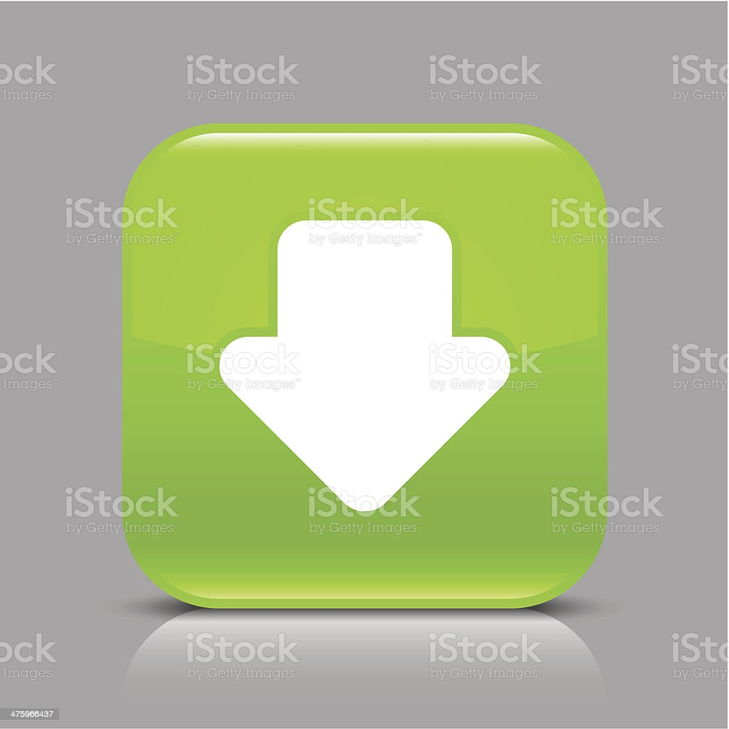 Green icon arrow download sign glossy square web internet button royalty-free stock vector art