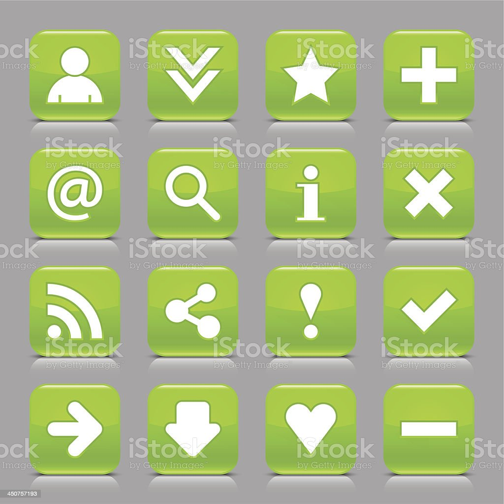 Green icon basic sign glossy rounded square button gray background royalty-free stock vector art