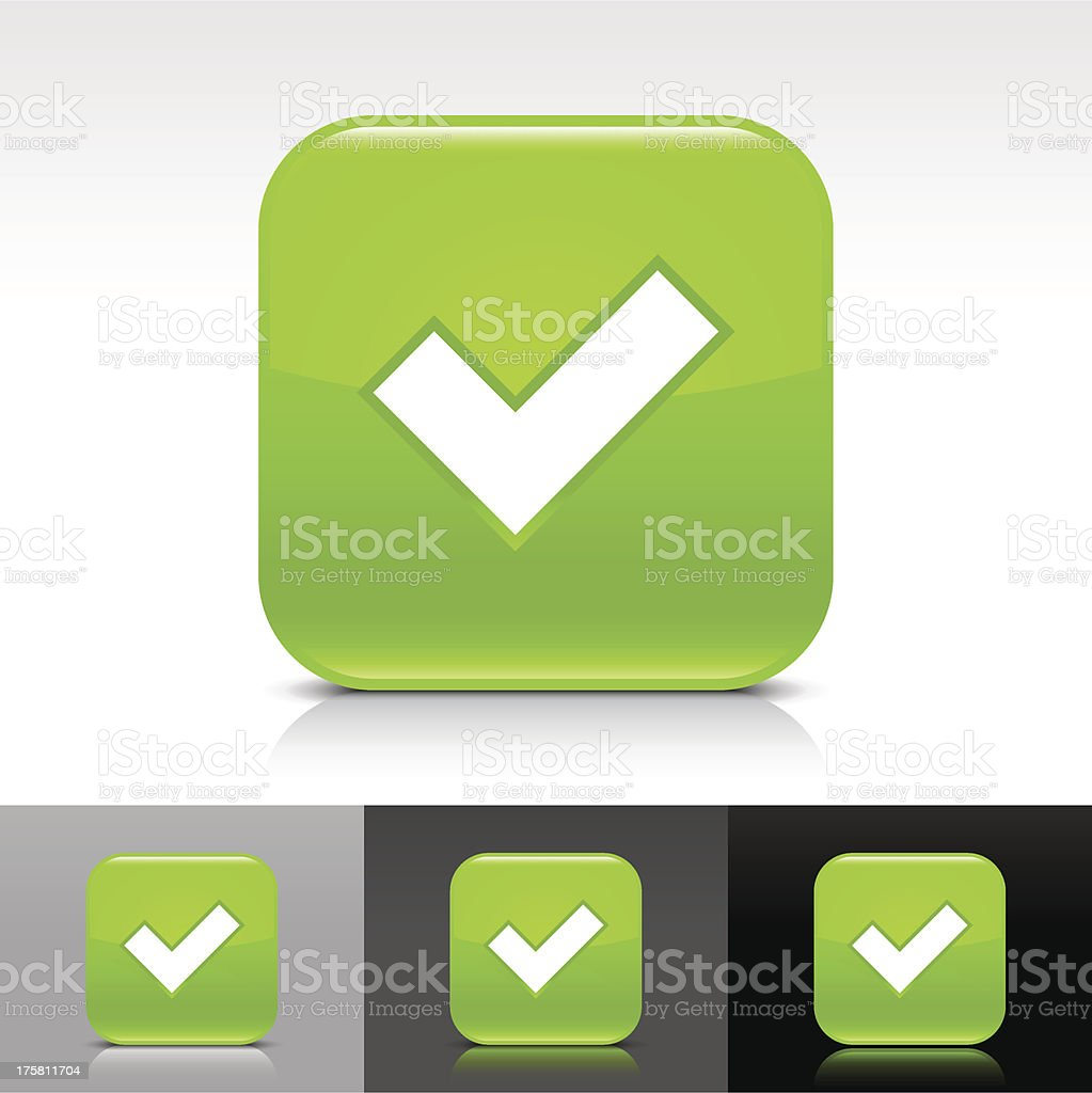 Green icon check mark sign glossy rounded square internet button royalty-free stock vector art