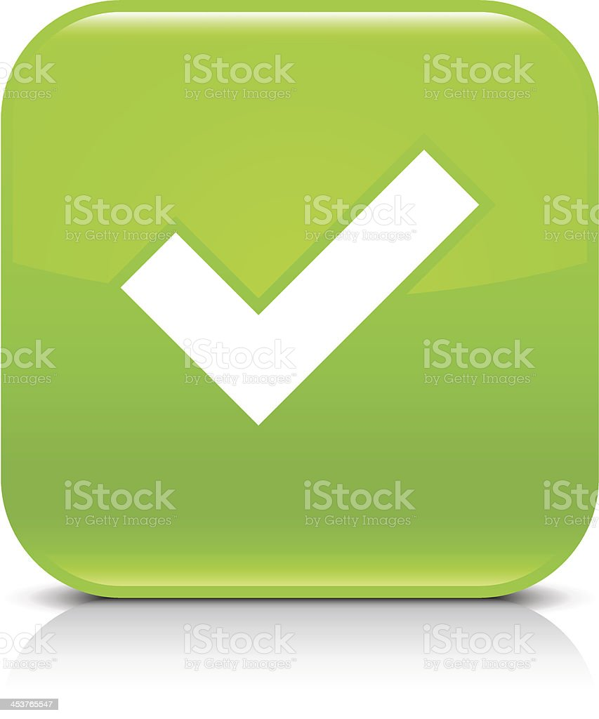 Green icon check mark sign glossy rounded square web button royalty-free stock vector art