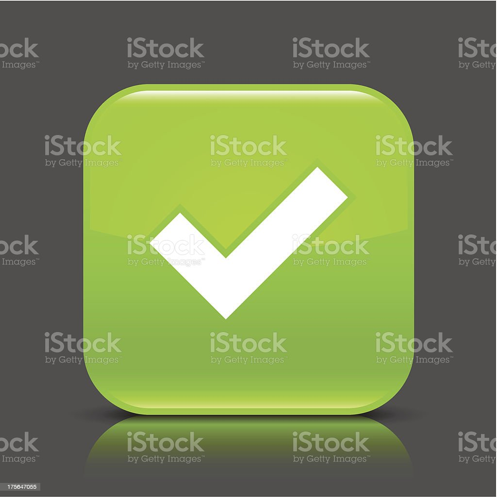 Green icon check mark sign glossy square web button royalty-free stock vector art