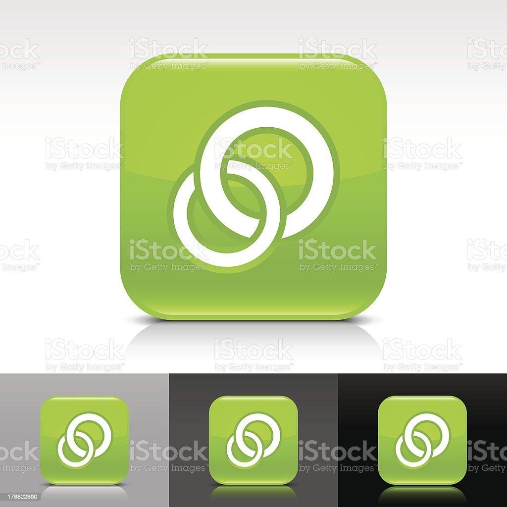 Green icon circles sign glossy rounded square web button royalty-free stock vector art