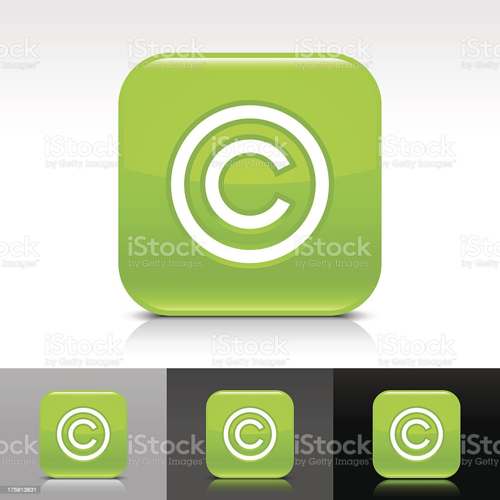 Green icon copyright sign glossy rounded square web button vector art illustration