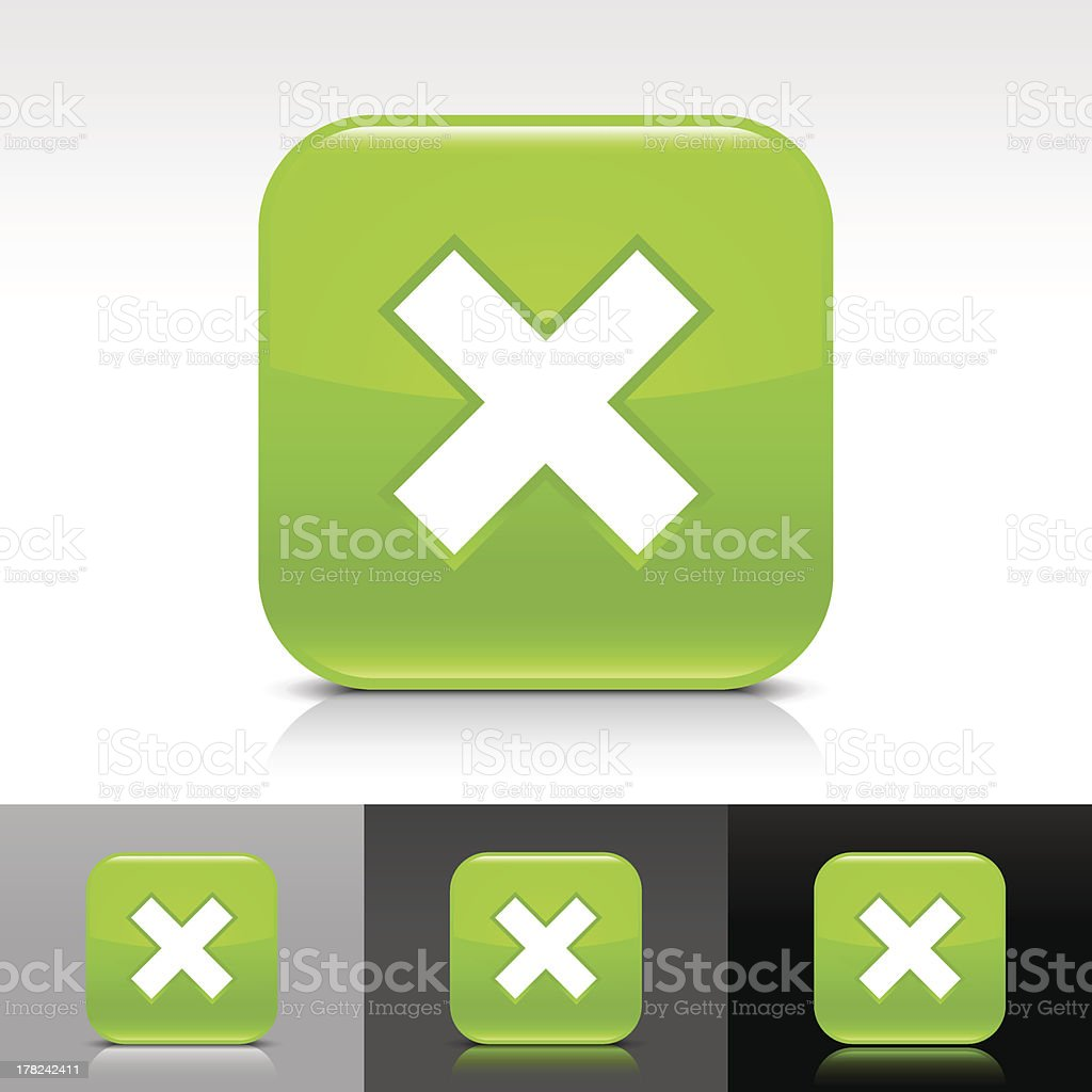 Green icon delete sign glossy rounded square web button royalty-free stock vector art