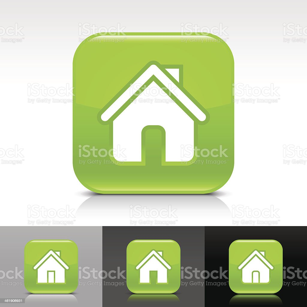 Green icon house sign glossy rounded square web internet button royalty-free stock vector art
