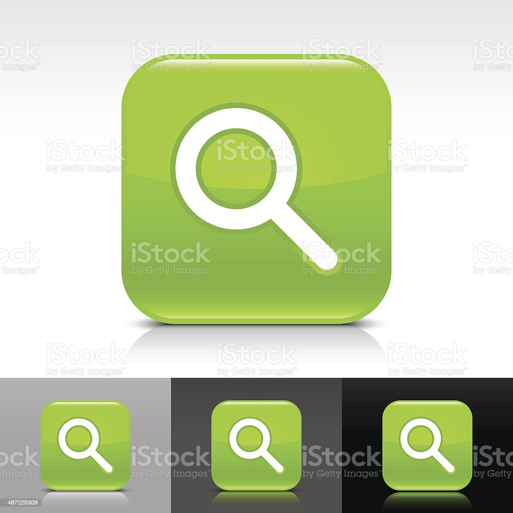 Green icon magnifying glass sign glossy rounded square internet button royalty-free stock vector art