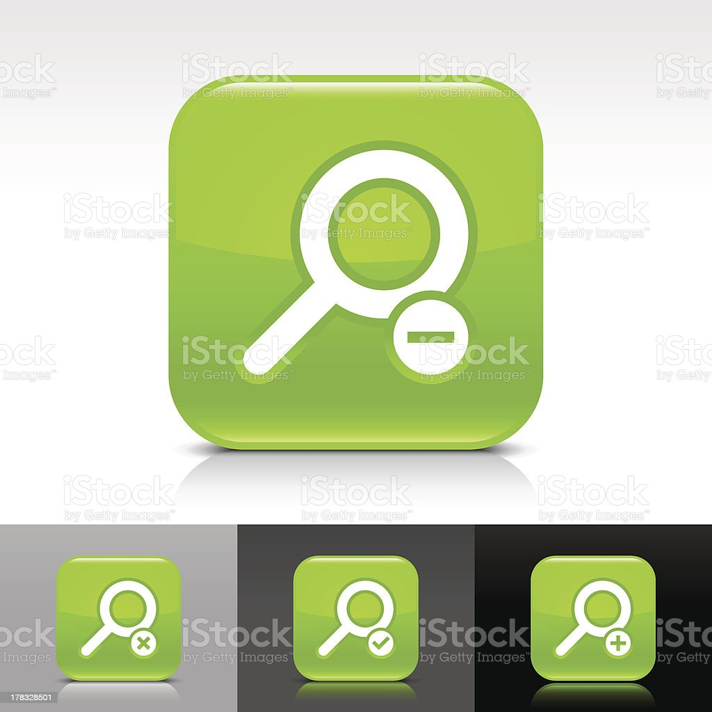 Green icon magnifying glass sign glossy rounded square web button royalty-free stock vector art