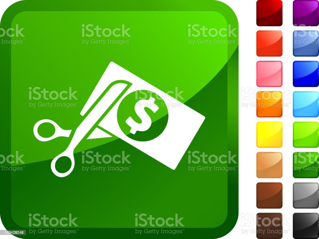 Green icon of scissors cutting dollar royalty-free stock vector art