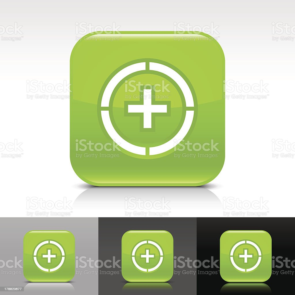 Green icon plus in circle sign glossy rounded square button royalty-free stock vector art