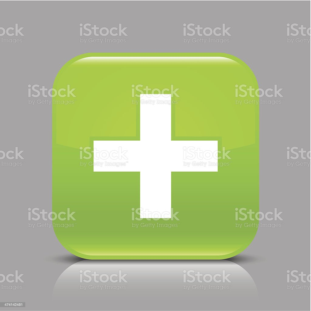Green icon plus sign glossy square web internet button vector art illustration