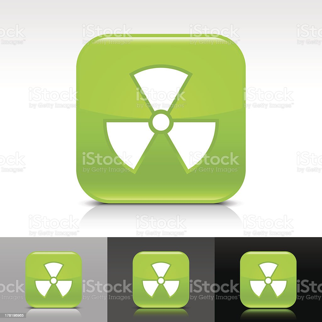 Green icon radiation sign glossy rounded square web internet button royalty-free stock vector art