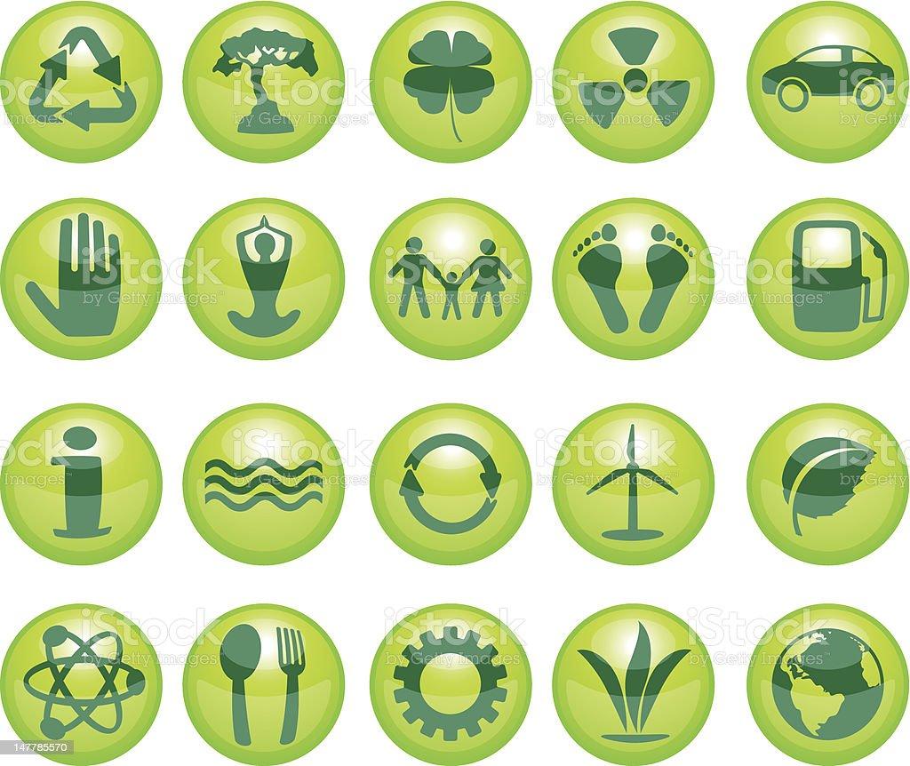 Green icon set. EPS10 royalty-free stock vector art