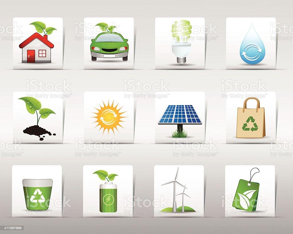 Green Icon Set vector art illustration