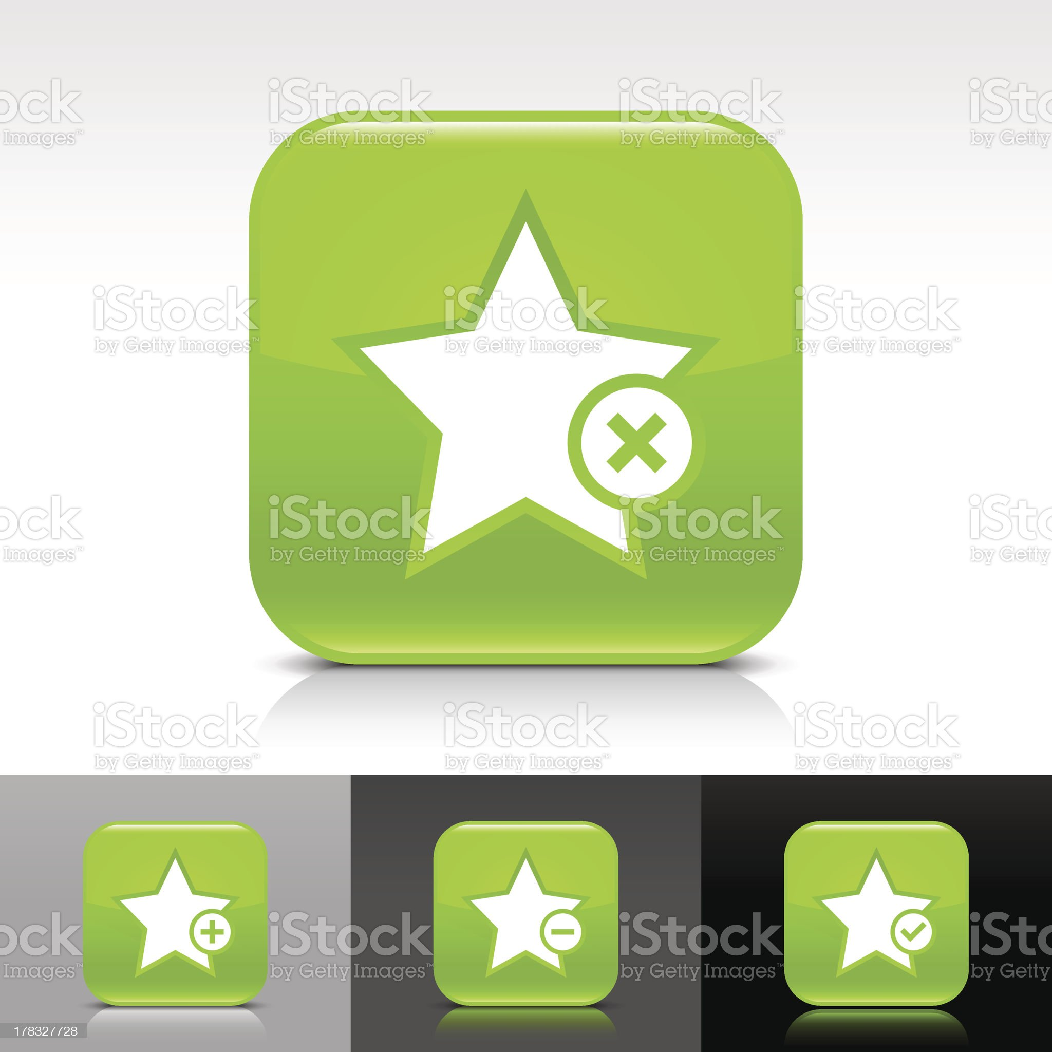 Green icon star sign glossy rounded square web button royalty-free stock vector art