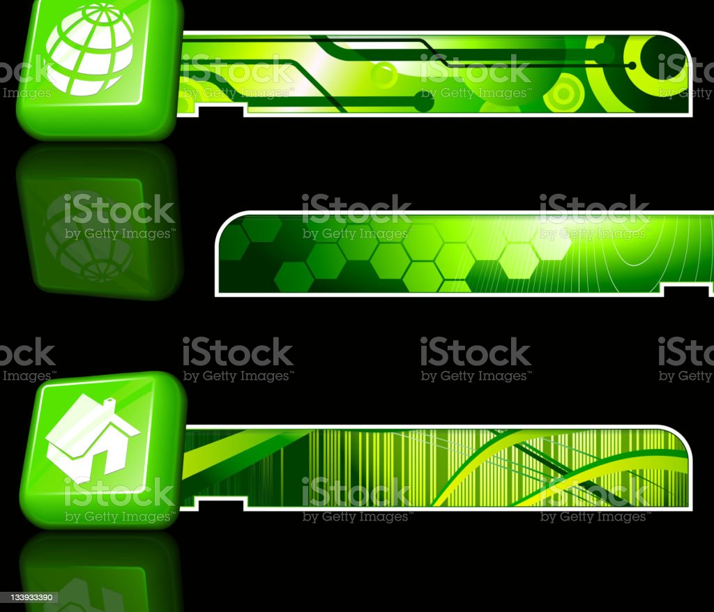 green icons and bars of environmental symbols royalty-free stock vector art