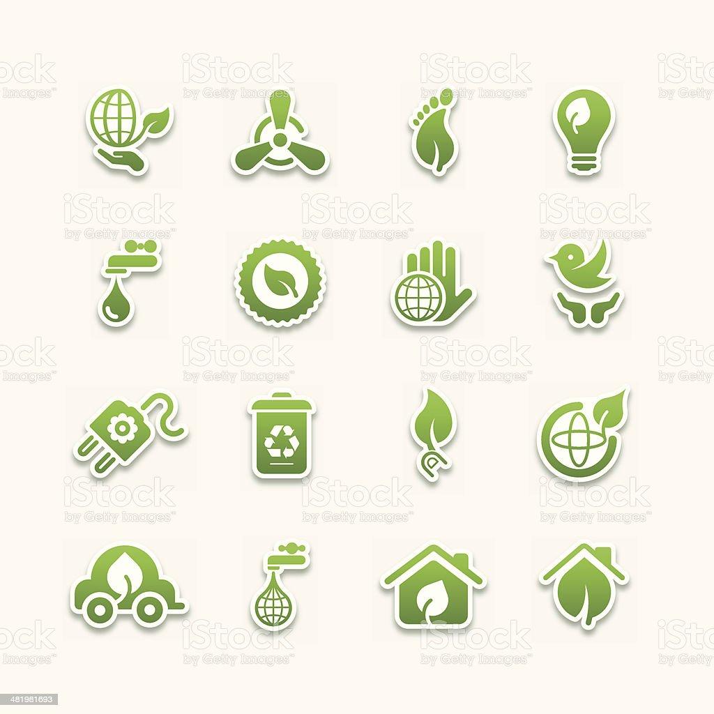 Green icons | Part 02 vector art illustration