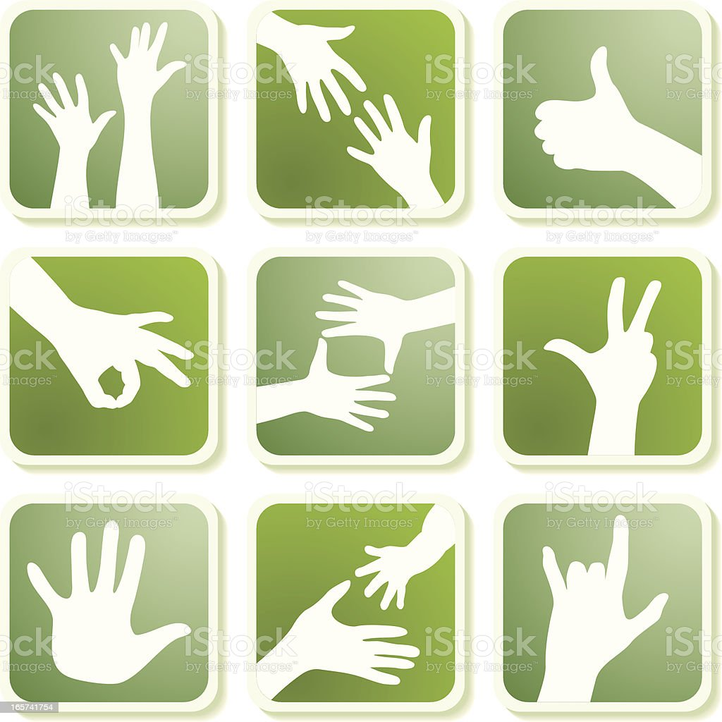 Green icons,hands royalty-free stock vector art