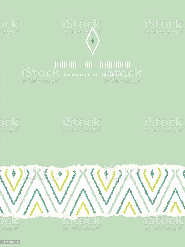 Green ikat diamonds vertical torn seamless patterns backgrounds royalty-free stock vector art