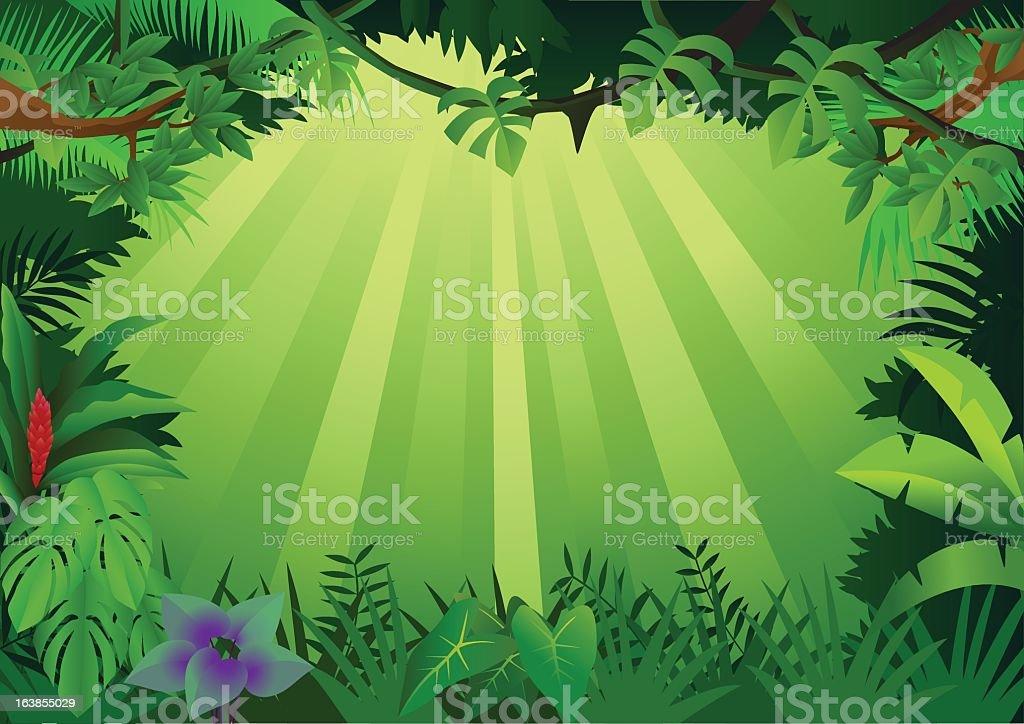 Green illustrated forest bordered background vector art illustration