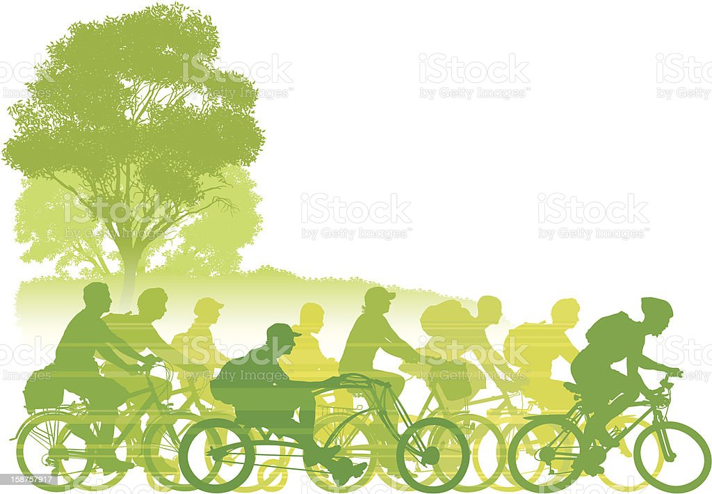 Green illustration of many types of outside bike riding royalty-free stock vector art