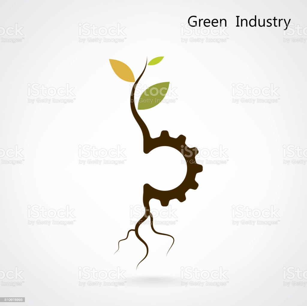 Green industry concept. Small plant and gear symbol, business and green idea. vector art illustration