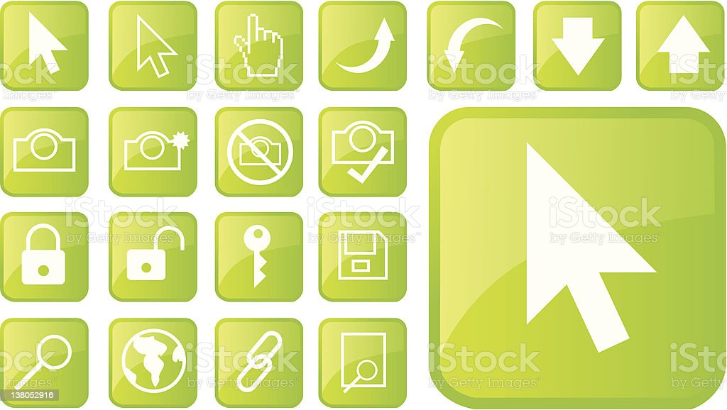 green internet icons and pointers royalty-free stock vector art