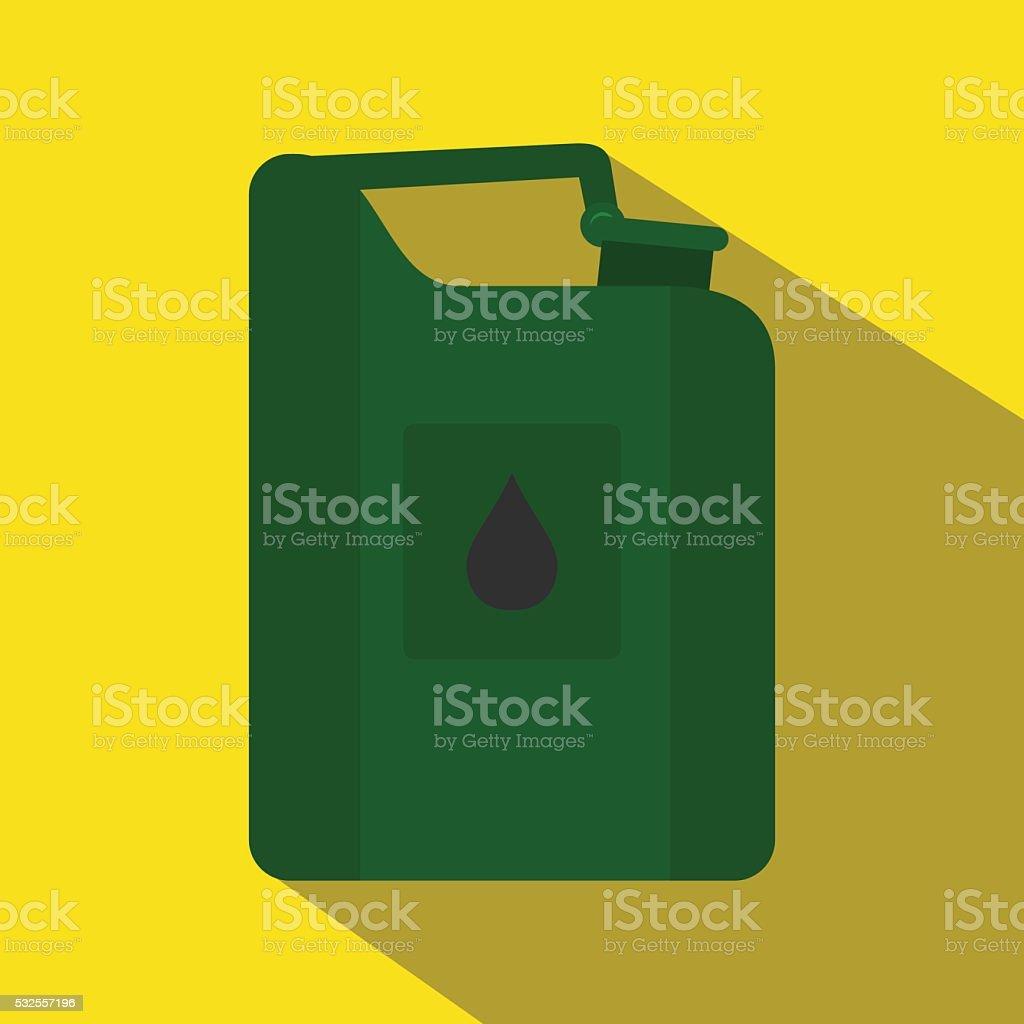 Green jerrycan oil flat icon vector art illustration