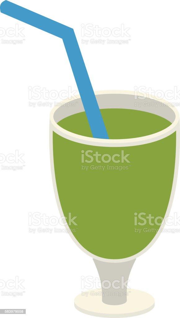 Green juice glass vector illustration. vector art illustration