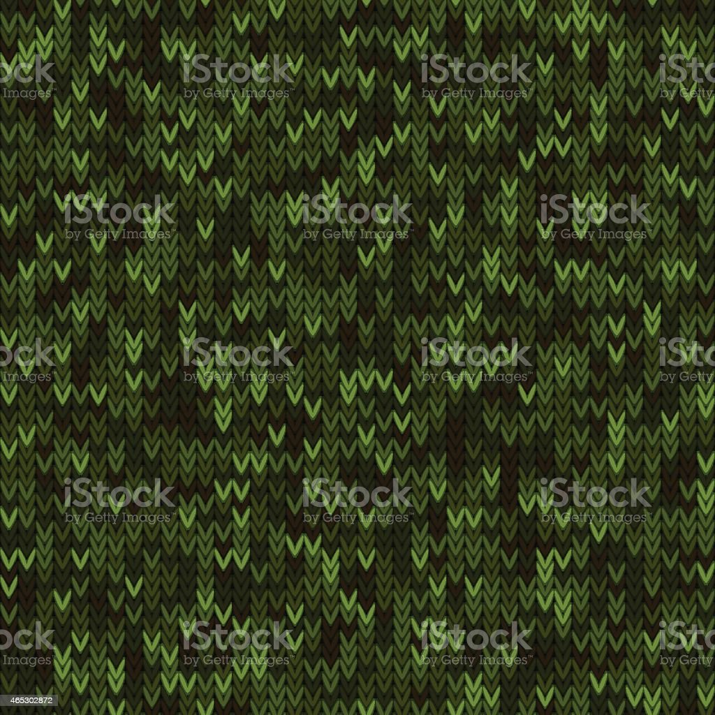 Green knitted seamless pattern vector art illustration