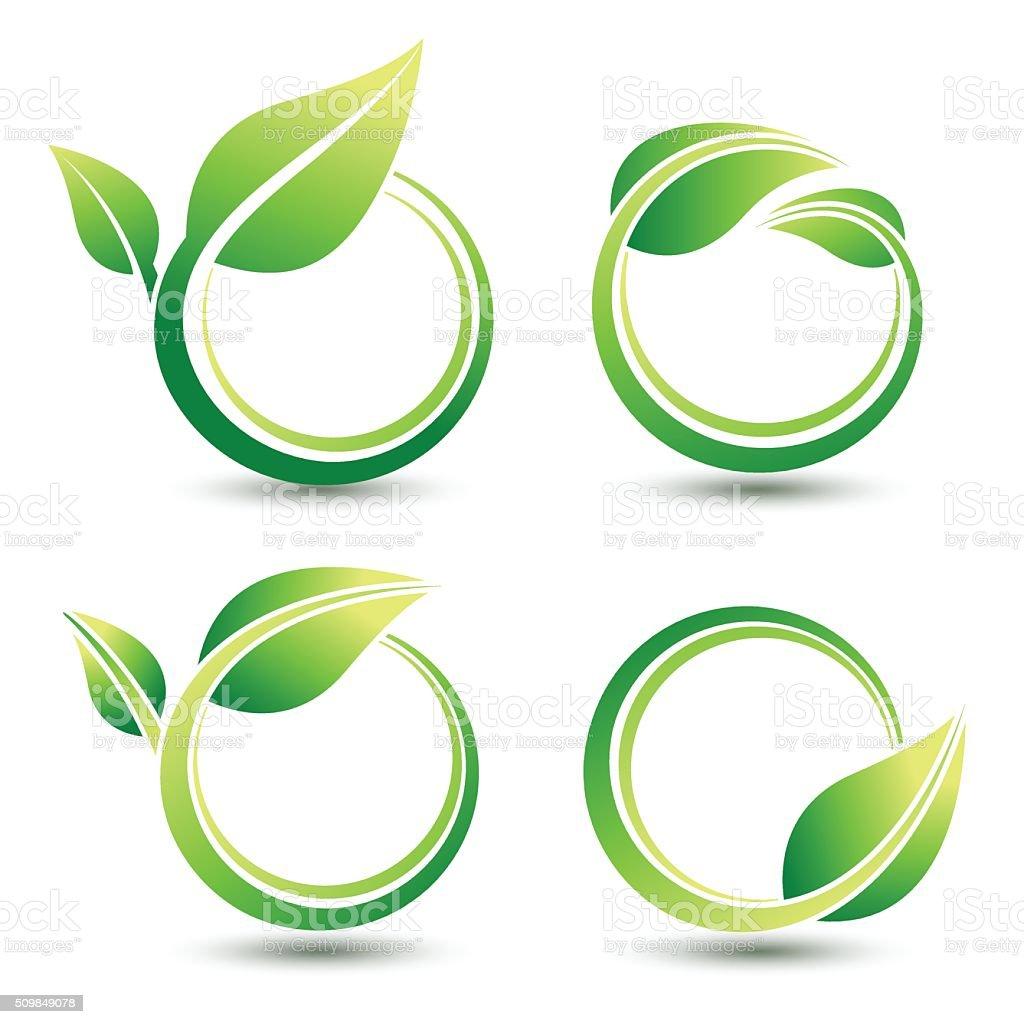 Green labels vector art illustration