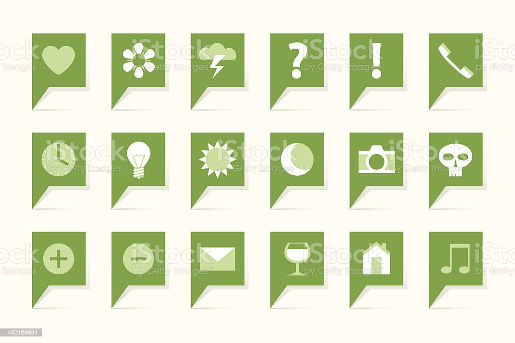 Green labels with symbols royalty-free stock vector art