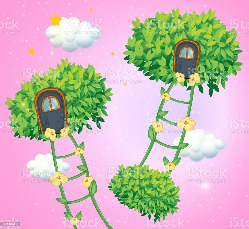 Green ladders going to the sky royalty-free stock vector art