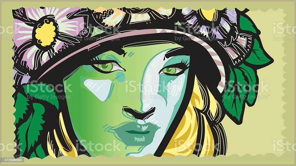 green lady royalty-free stock vector art
