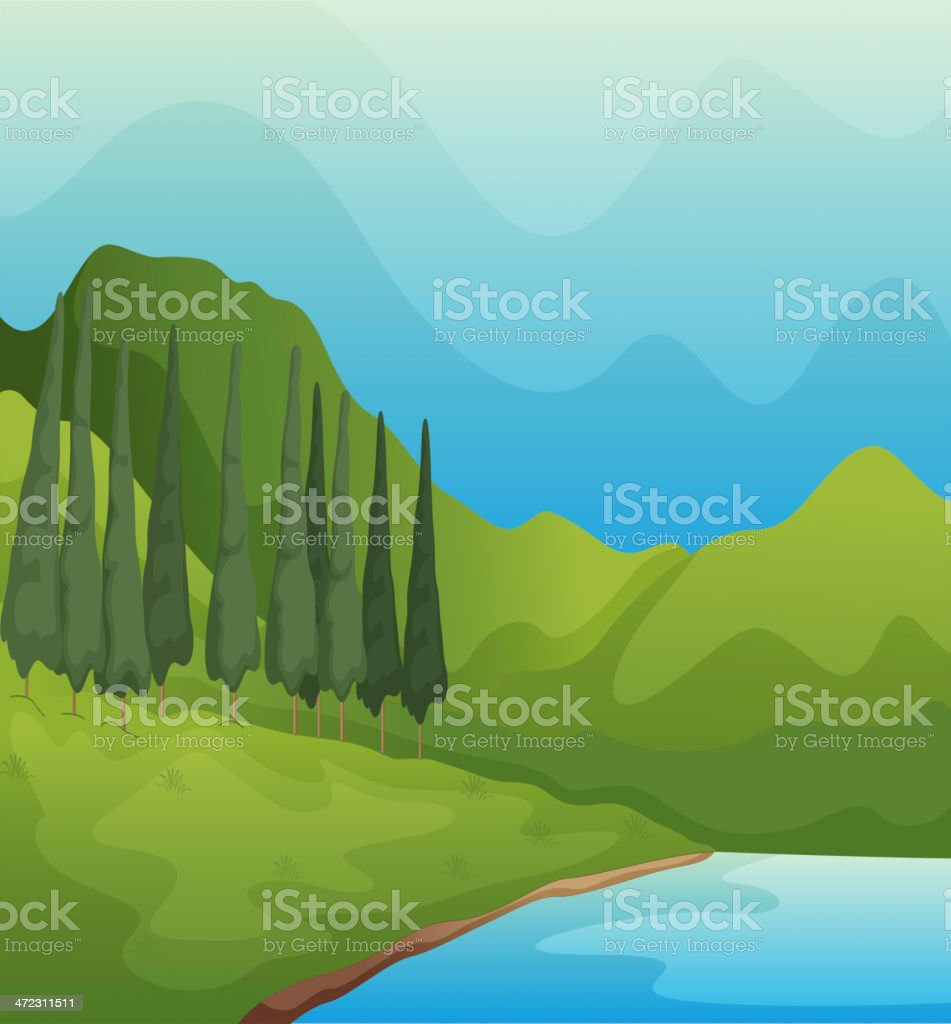 Green landscape and lake royalty-free stock vector art