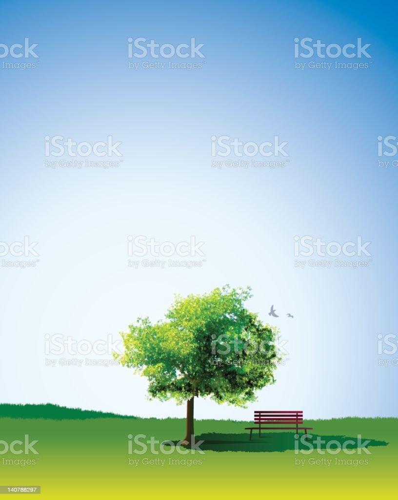 green landscape & tree royalty-free stock vector art