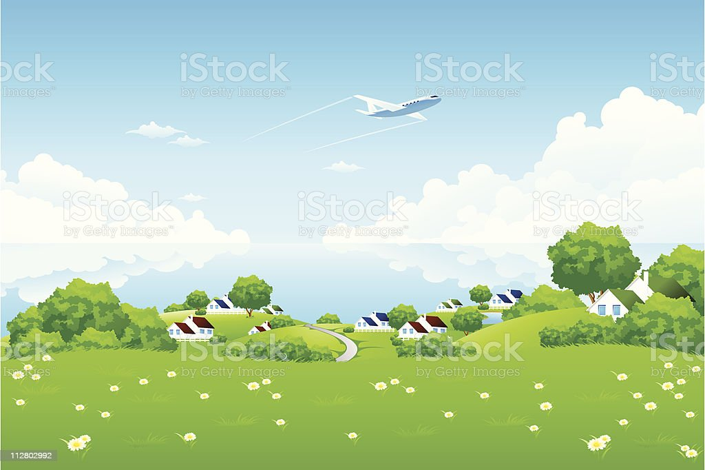 Green Landscape with aircraft royalty-free stock vector art