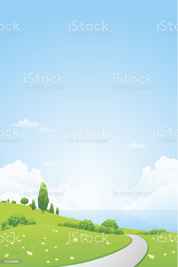 Green Landscape with Flowers royalty-free stock vector art