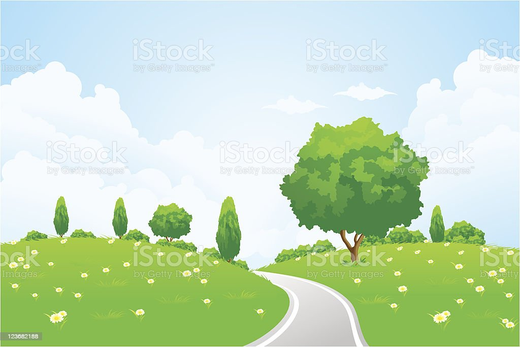 Green Landscape with hill tree road and flowers royalty-free stock vector art