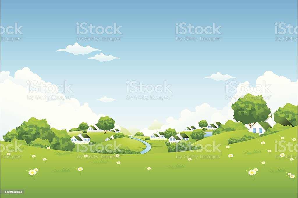 Green Landscape with houses royalty-free stock vector art