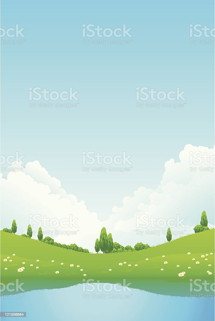 Green landscape with lake royalty-free stock vector art