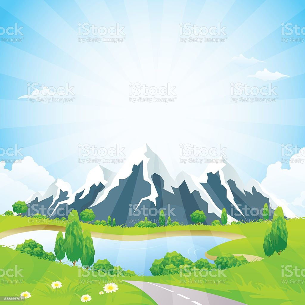 Green Landscape with Road and Mountains vector art illustration