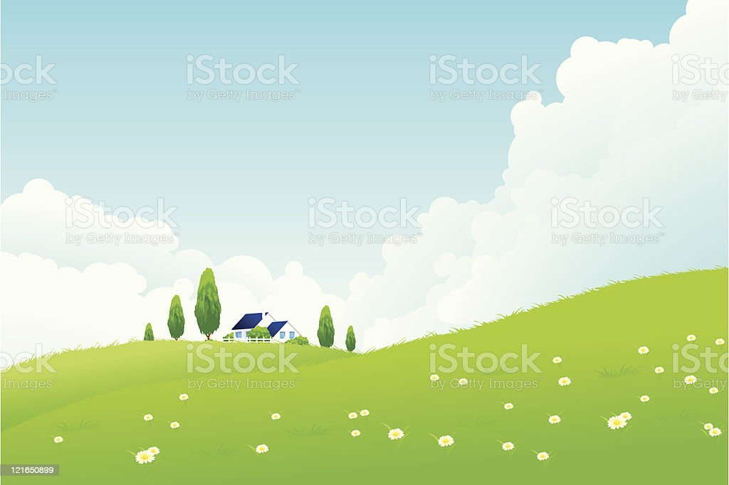 Green Landscape with trees and house royalty-free stock vector art