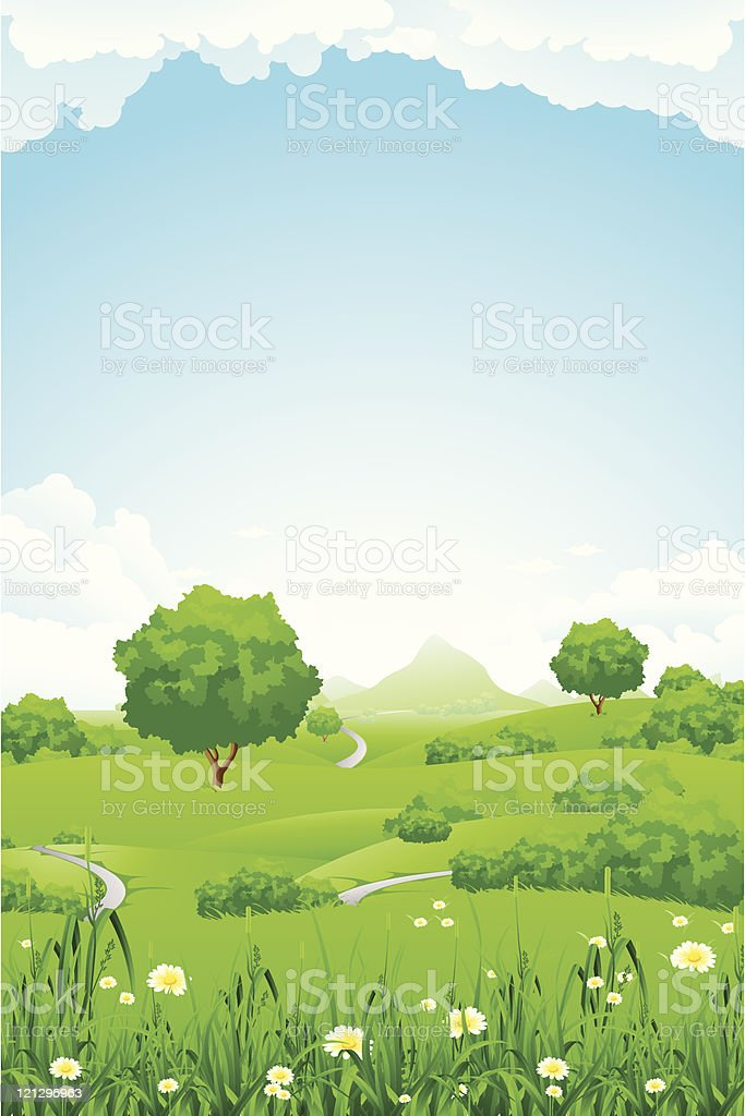 Green Landscape with trees and mountain royalty-free stock vector art