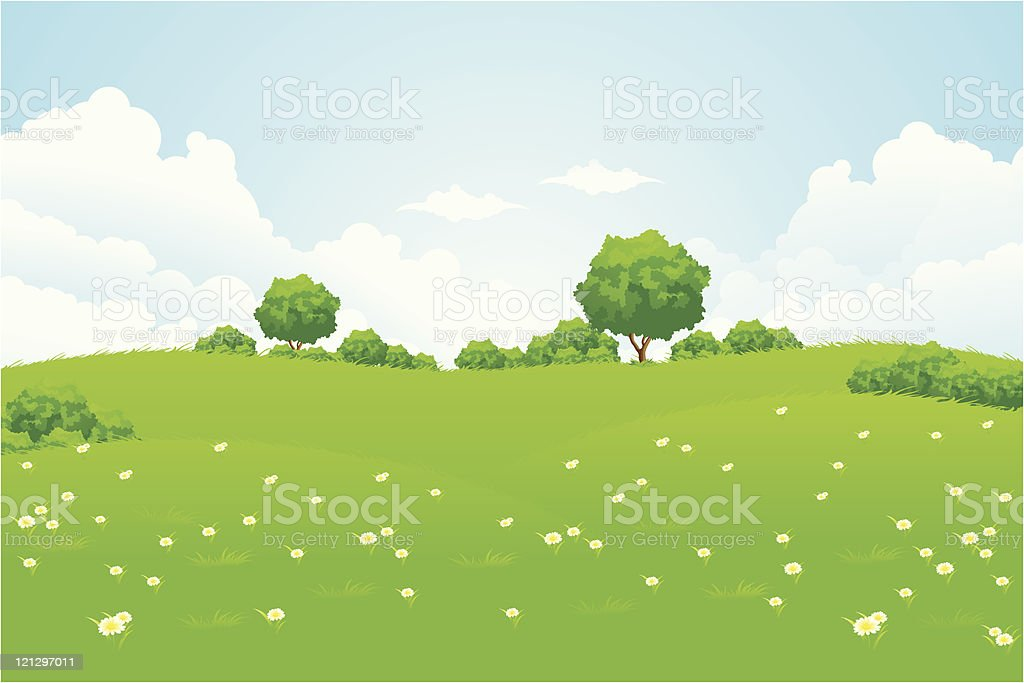 Green Landscape with trees royalty-free stock vector art