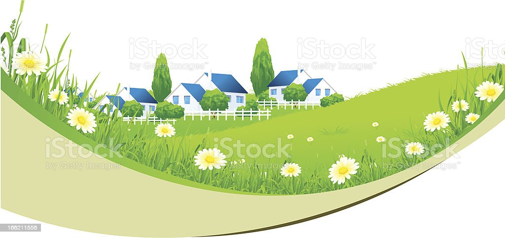 Green Landscape with Village royalty-free stock vector art